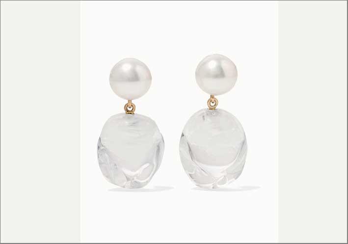 Orecchini Venus, in oro, perla, vetro di Murano