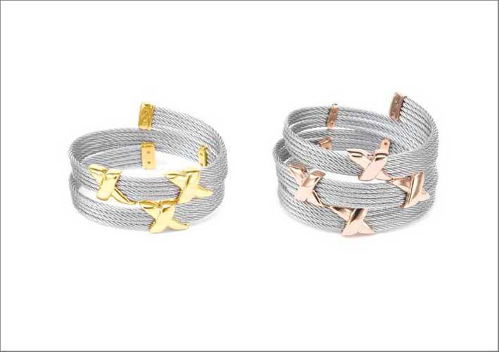 Bracciali in acciaio con elementi oro rosa e giallo