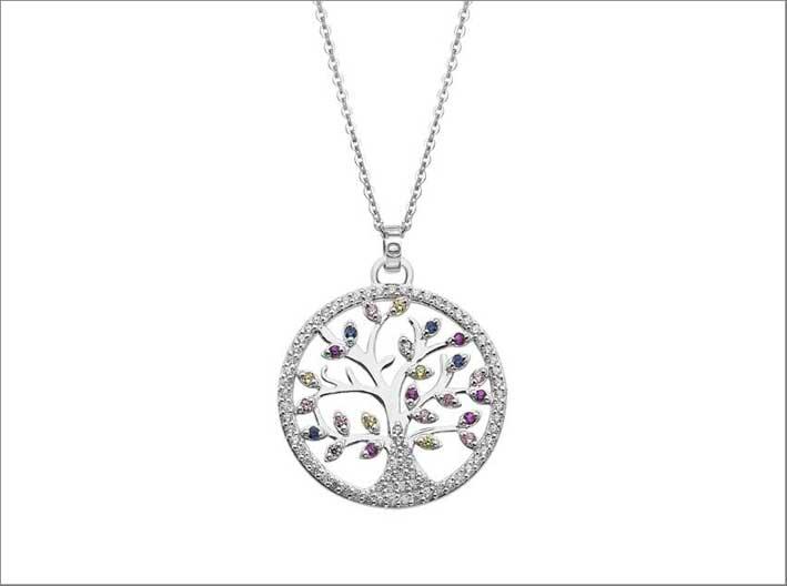 Collana Albero della vita con cristalli Swarovski