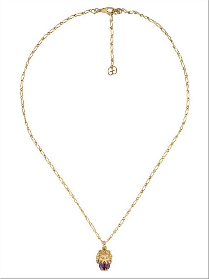 Gucci, collana in oro bianco e ametista