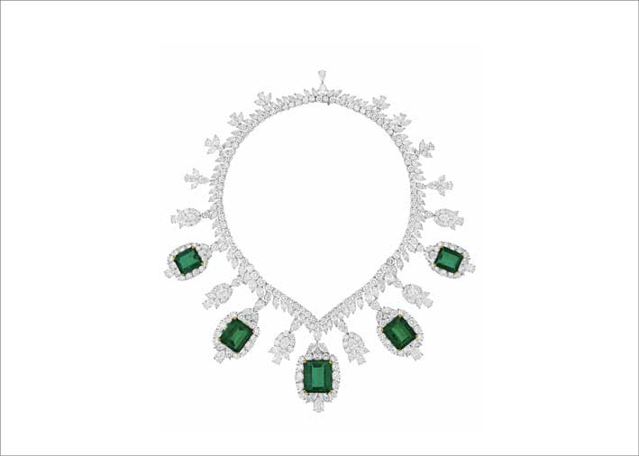 Collana di Harry Winston con diamanti e smeraldi