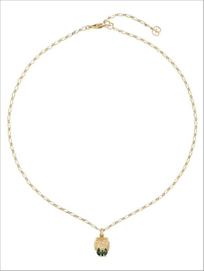 Gucci, collana in oro bianco e diopside