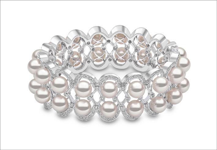 Bracciale con perle Akoya e diamanti di Yoko London