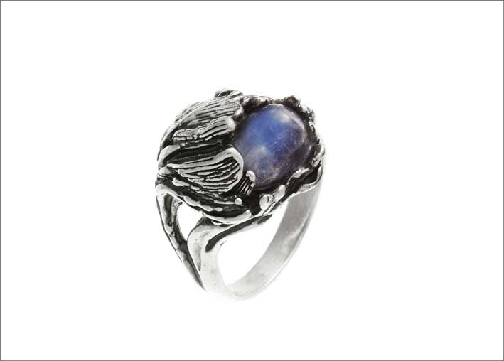 Anello Moon Flower in argento e labradorite