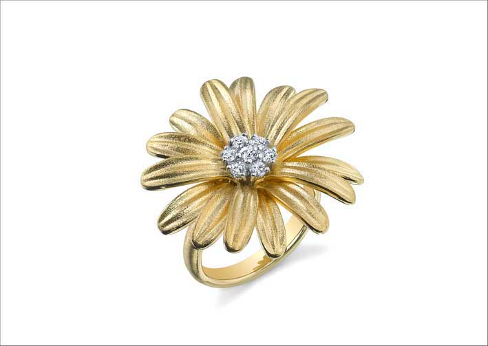 Anello Daisy, in oro e diamanti