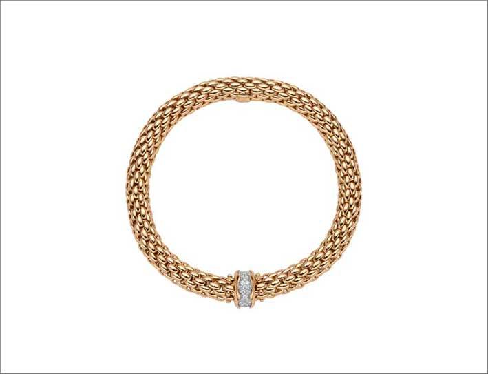 Bracciale in oro giallo e rondella con pavé di diamanti