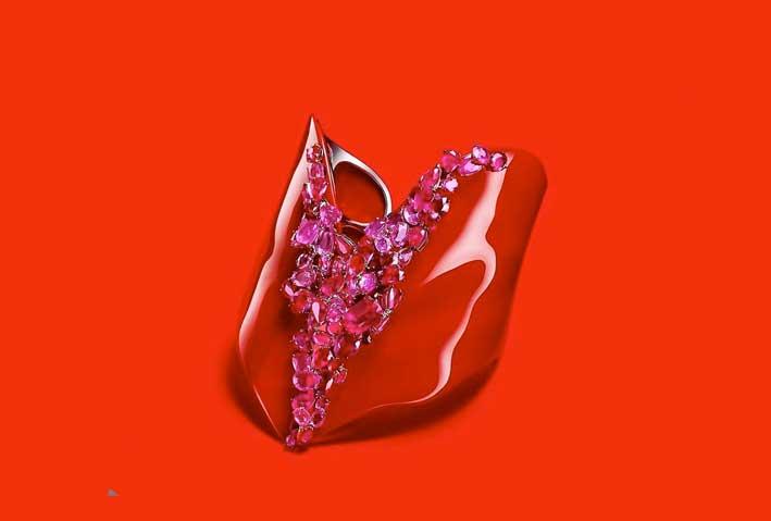 Bracciale Coeur Rouge, utilizza l'antica tecnica cinese della lacca, con rubini e rubelliti