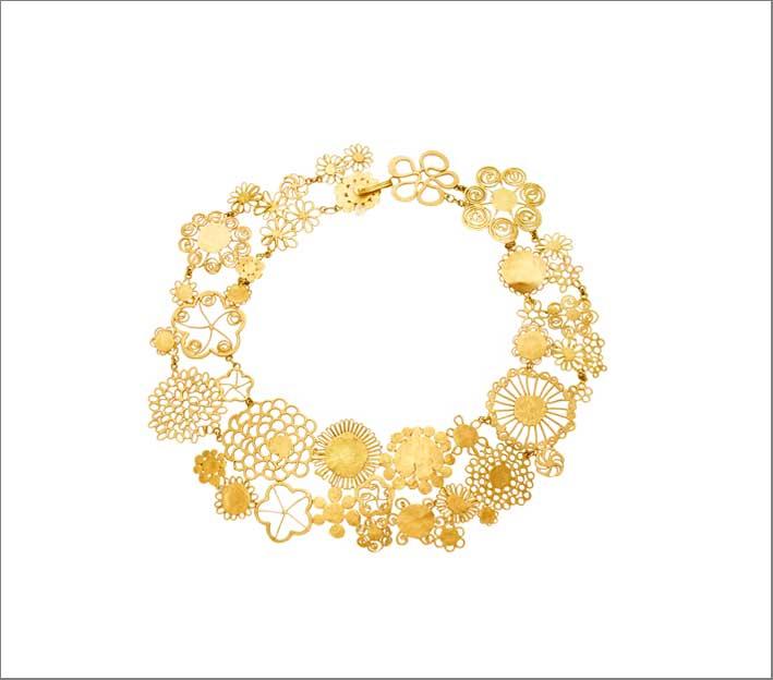 Collana floreale Erewhon in oro