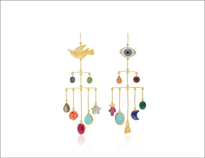 Orecchini in argento dorato 18 carati, vetro, opale, crisoprasio, pietra di luna olor pesca, granato, labradorite, corallo, turchese, perla, malachite