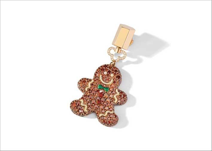 Pendente biscotto allo zenzero con diamanti brown e smeraldo