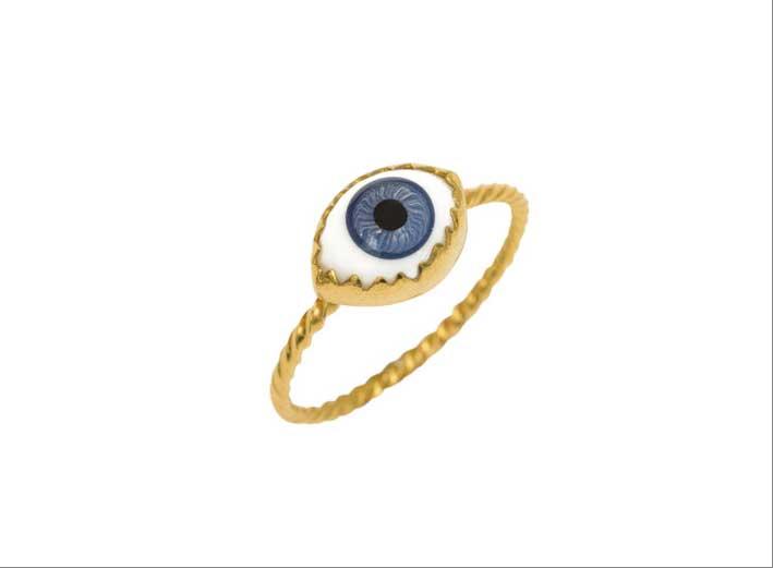 anello in argento placcato oro e vetro antico