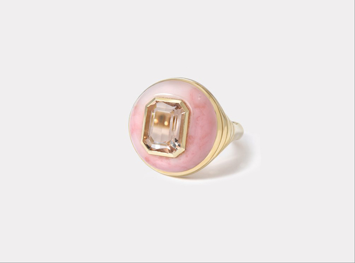 Anello Lollipop con morganite e opale
