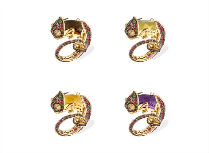 Anelli Chameleon con zaffiro intercambiabile, oro 18 carati