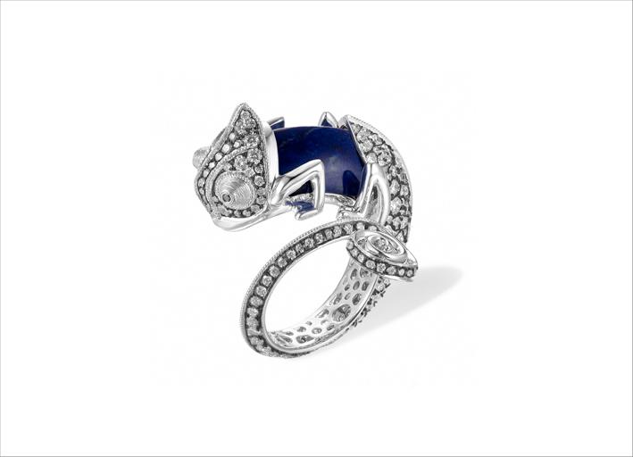 Anello Chameleon con zaffiro intercambiabile, diamanti, oro bianco 18 carati