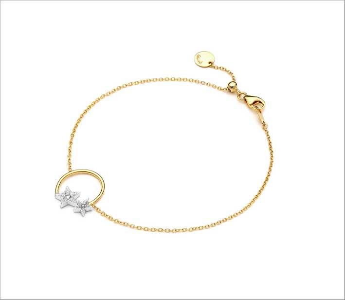 Bracciale della collezione Les Etoiles, oro 18kt con diamanti