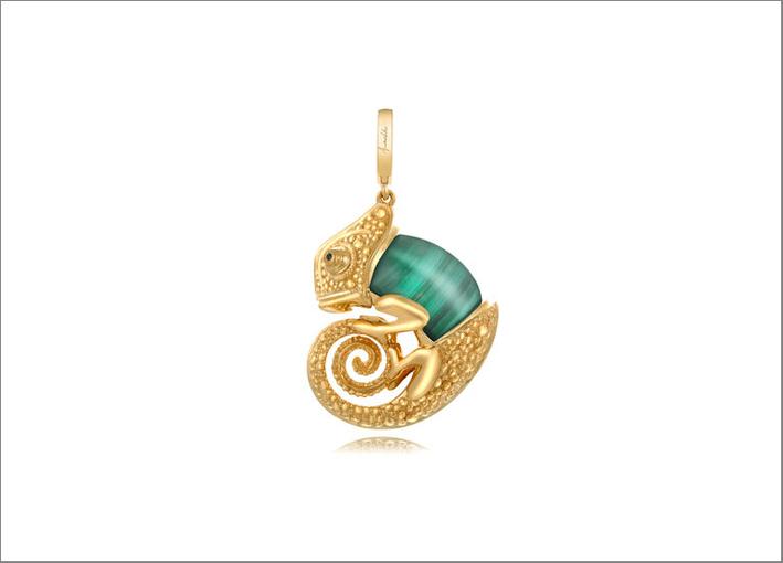 Ciondolo Chameleon in oro e malachite
