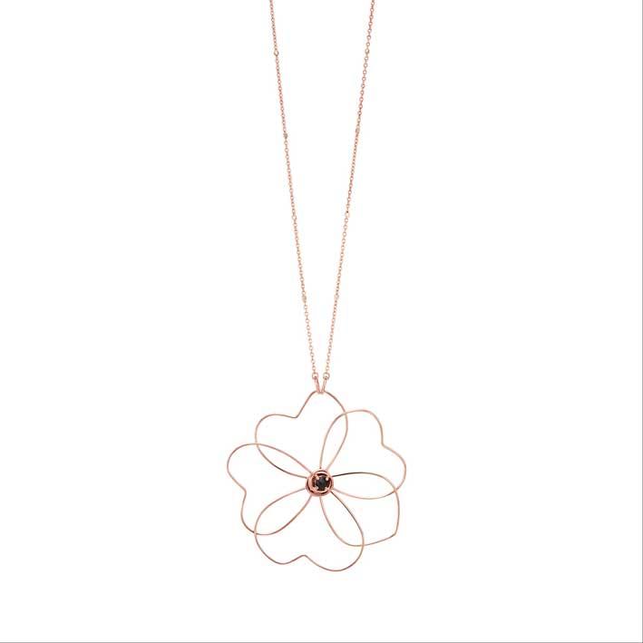 Collana della collezione Flowers in oro 18 carati e spinello nero taglio rose cut