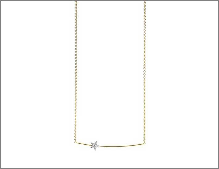 Collana in oro rosa 18kt con barretta in oro lucido, stella in oro bianco e diamante