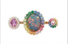 Anello Toi & Moi in oro giallo e rosa con smeraldi, diamanti, zaffiri, granato, peridoto, lacca, perla