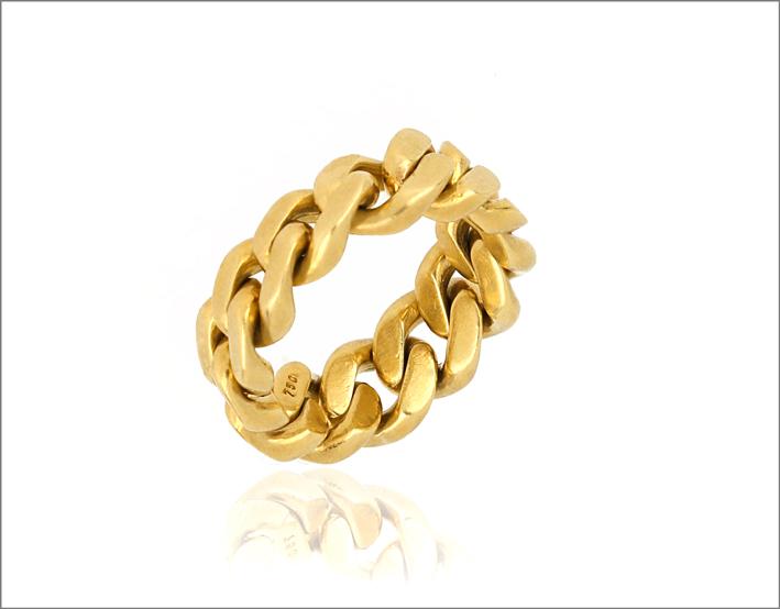 Anello a catena in oro giallo