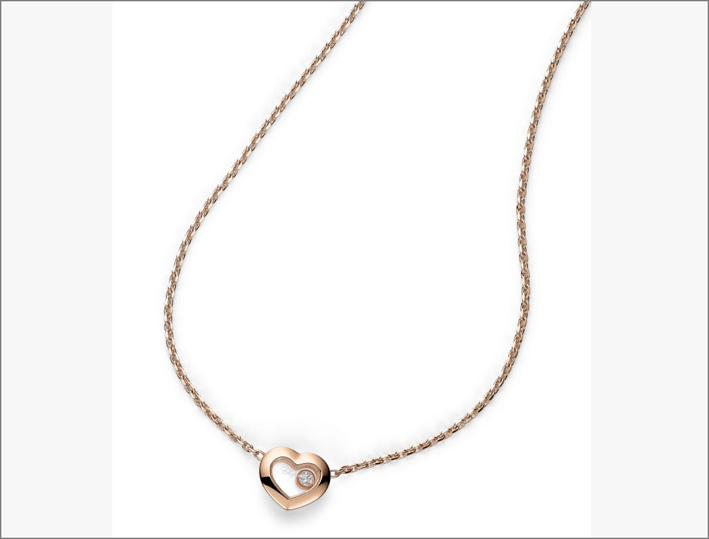 Collana in oro rosa e diamanti Happy Diamonds