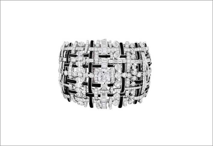 Chanel, bracciale in oro bianco, diamanti, onice