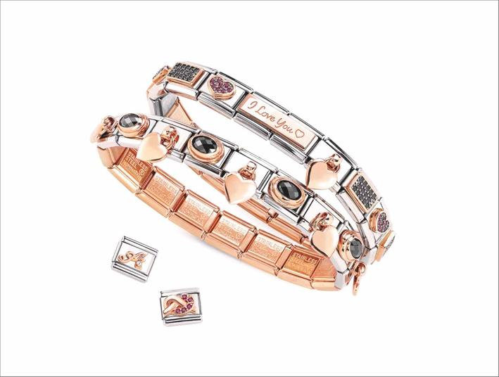 IL bracciale per San Valentino in acciaio, oro 18kt, smalti, pavé di cubic zirconia