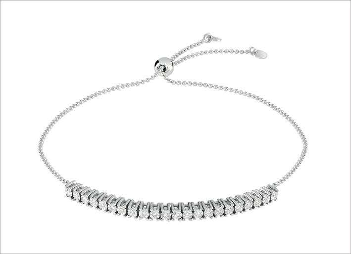 Collana regolabile in oro bianco e diamanti