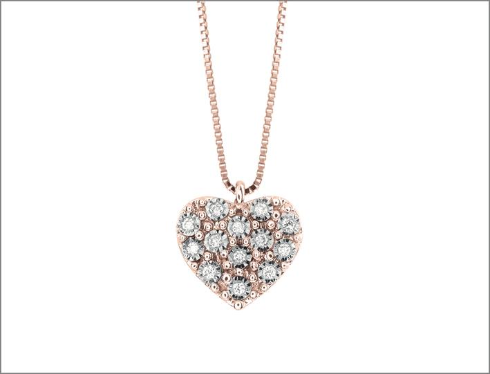 Collana con cuore in oro rosa e diamanti