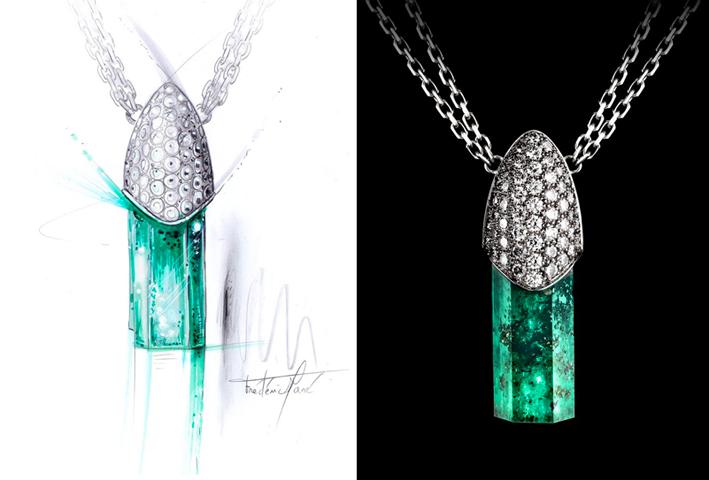 Pendente con smeraldo naturale con inclusioni di pirite e diamanti, linea Genesisdi Hoehl's alta gioielleria