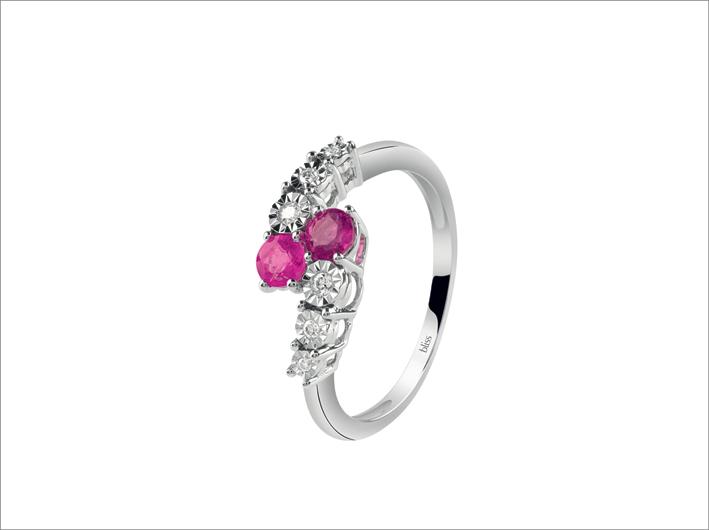 Anello della linea Rugiada Colors in oro bianco, diamanti e rubini