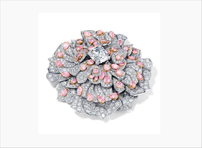 Spilla Fractal in oro bianco con diamanti bianchi e rosa