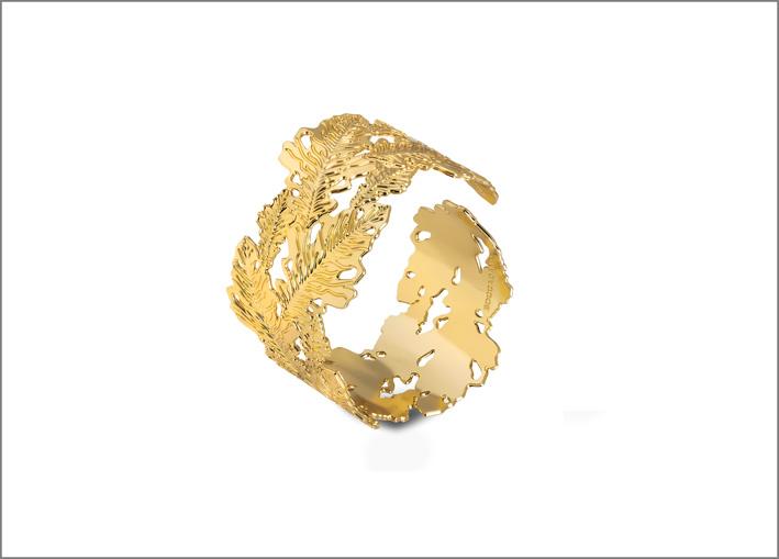 Boccadamo, collezione Natura. Bracciale placcato oro con decoro foglie di quercia