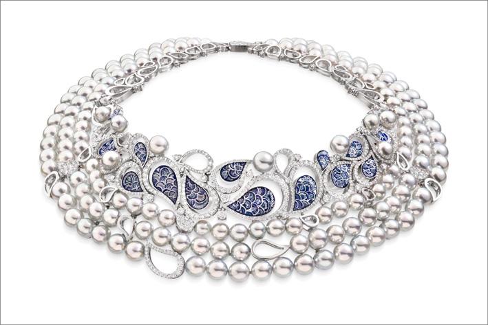 Collana Calipso con 165 perle Akoya e diamanti