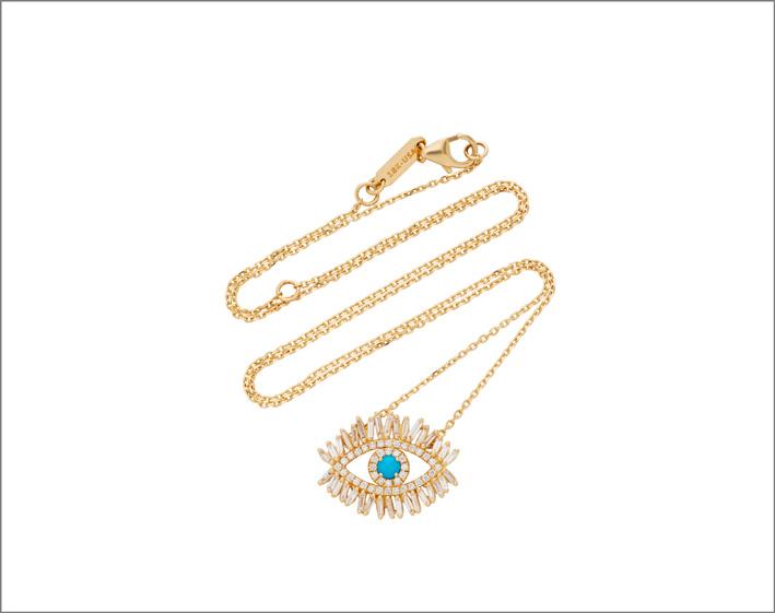 Collana in oro giallo, diamanti, turchese
