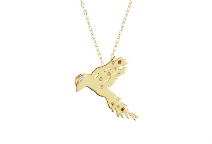 Collana dedicata agli uccelli migratori, in oro, diamanti, rubini