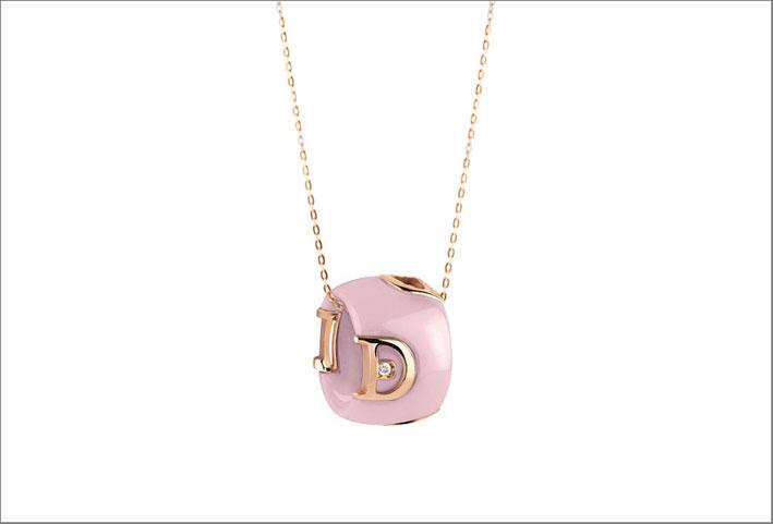 Collana in ceramica rosa e oro rosa con diamante
