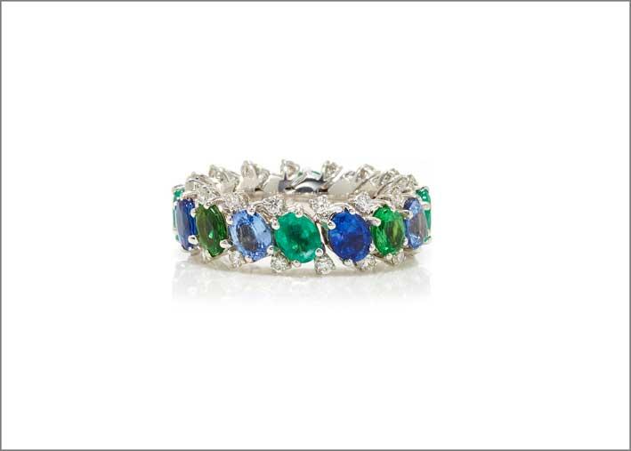 Anello EX con zaffiri e smeraldi