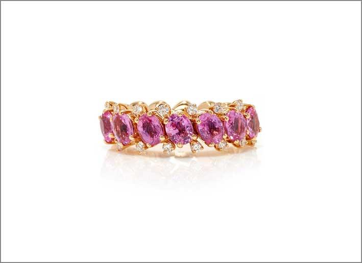 Anello EZ con zaffiri rosa e diamanti