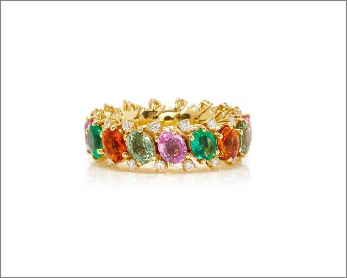 Anello EZ con zaffiri di diversi colori, smeraldi, diamanti