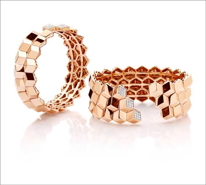 Bracciali in oro rosa e diamanti