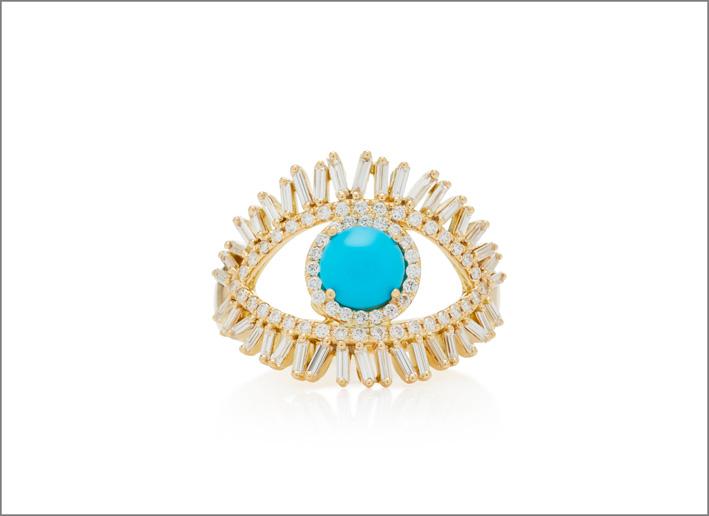 Anello in oro giallo, diamanti baguette, turchese