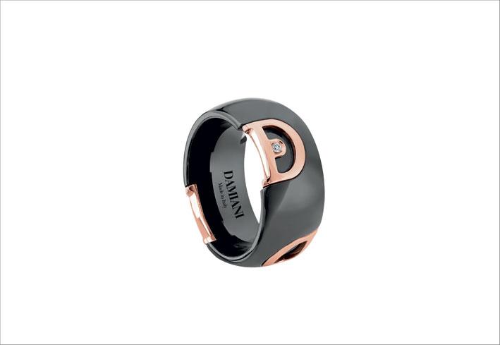 Anello di ceramica nera con diamante