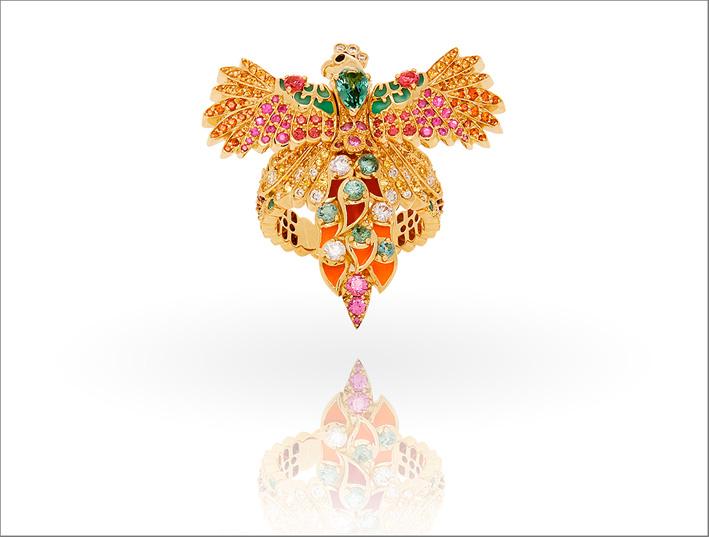 Anello Ara, con tormalina neon, zaffiri rosa, spinelli neri e rossi, zaffiri gialli, diamanti GVS, smeraldi, granati, spessartite, Rubino