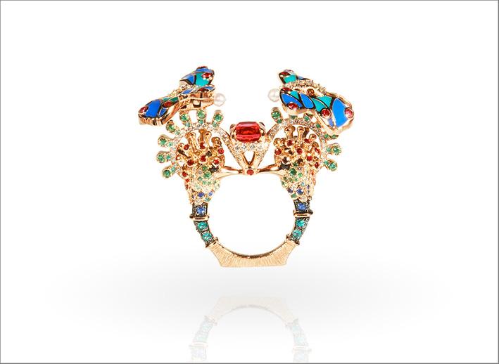 Anello Nkuma, con spinello rosso-arancio, neri e rossi, tormaline Paraíba, zaffiri blu, diamanti GVS, smeraldi