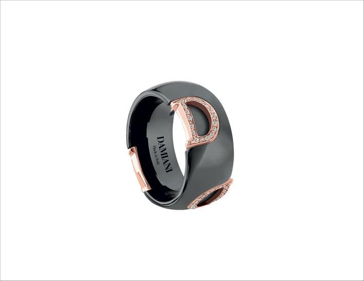 Damiani_D. Icon, anello ceramica nera con pavé di diamanti