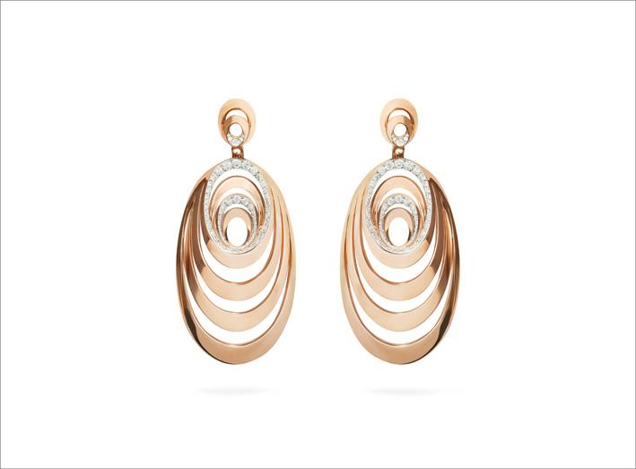 Collezione Aura, orecchini in oro rosa e diamanti