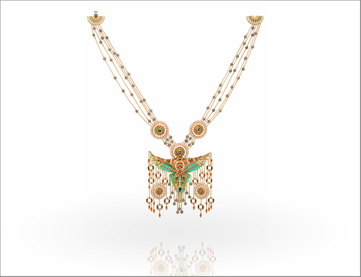 Collana Anqa, con ametista, pietre di luna, spinelli rossi, diamanti, smeraldi, granati, spessartiti,