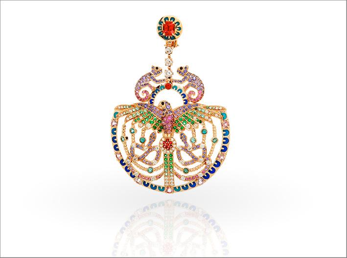 Orecchino Quetzacoal, spinelli rossi, tormaline neon, spinelli neri, sfumati rosa e viola, zaffiri rosa e viola, diamanti, smeraldi