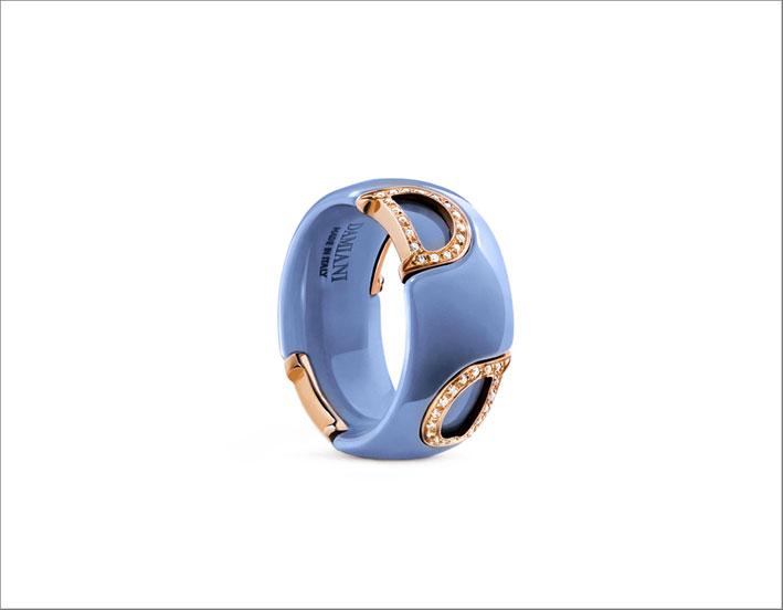Anello in ceramica azzurra e oro rosa con pavé di diamanti